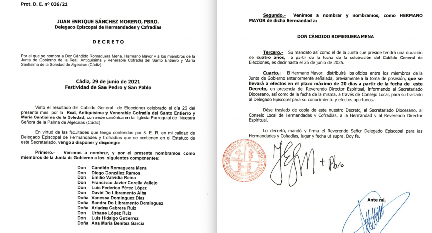 El Obispado de Cádiz refrenda la nueva Junta de Gobierno que deberá tomar posesión en 20 días